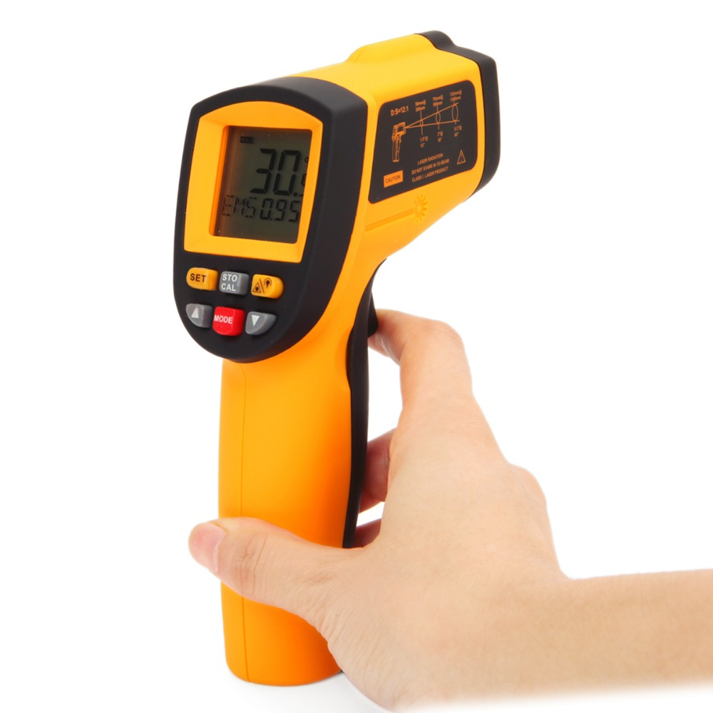 GM1150 IR Infrared Digital Temperature Measurement Non-Contact 12:1 LCD Display Gun Thermometer -50~1150C (-58~2102F) 0.1~1.00(China (Mainland))