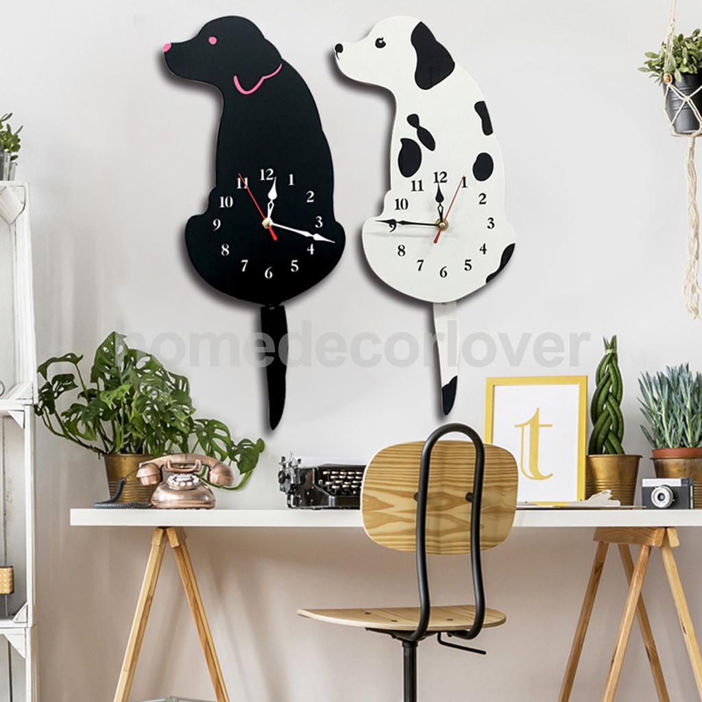 Cartoon Acrylic Wagging Tail Dog Innovative Home Cafe Bar Shop Wall Clock Cute Puppy Animal Decor Props Timen Watch