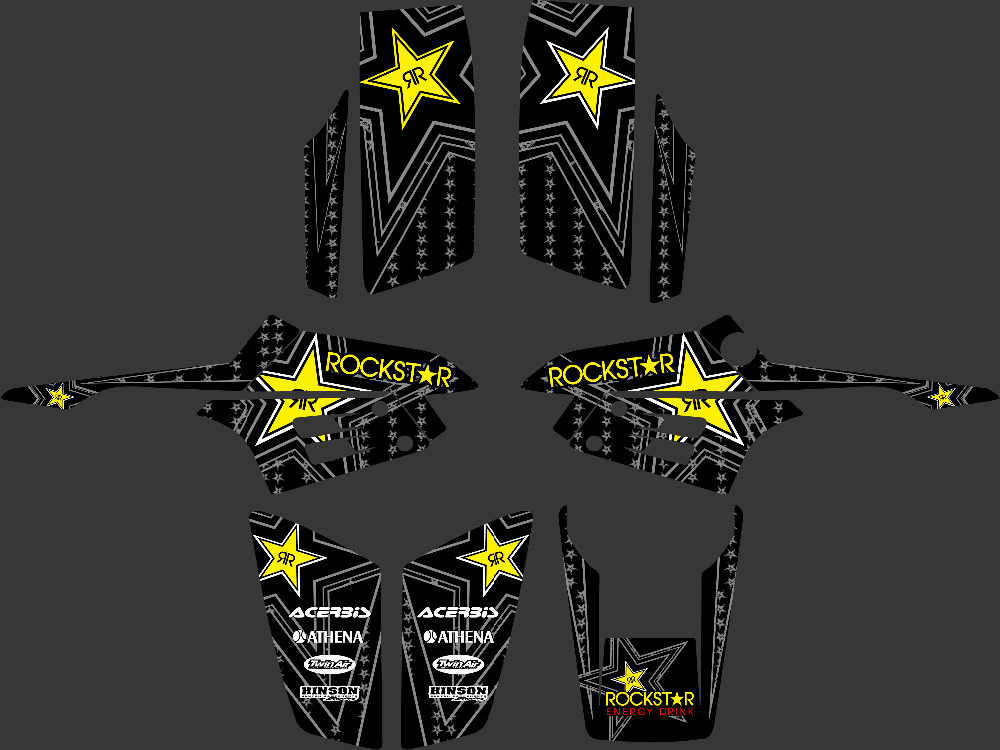 DST0332 Black Star New Style 3M ROCKSTAR DECALS STICKERS Graphics Kits for YAMAHA Warrior 350 ATV(China (Mainland))