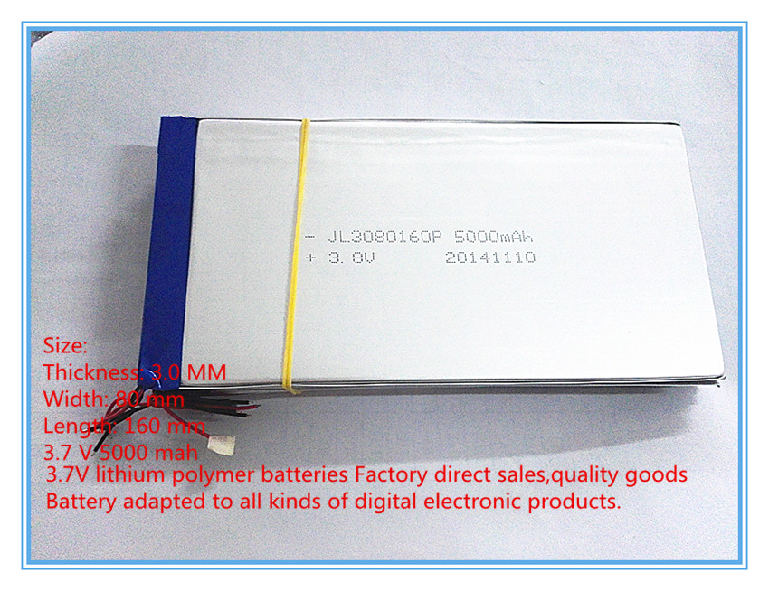Free shipping 3080160 polymer battery 5000 mah 3.7 V MP4 mobile power tablet battery(China (Mainland))