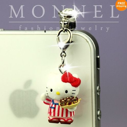 IP301e Special off Luxury Hello Kitty 3D Charm 3.5mm Earphone Jack Anti Dust Phone Plug(China (Mainland))