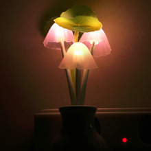 Colorful LED Sensor Mushroom Lotus Light Bedroom Night Lamp Home US Plug Worldwide Store(China (Mainland))