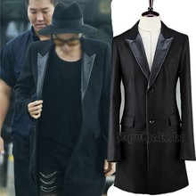 Gd 2015 big bang black trench outerwear slp suit overcoat(China (Mainland))