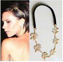 T313 British girl Tide brand original single gold metal leaf olive branch shape headbands wedding hair jewelry accessories(China (Mainland))