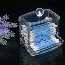 Hot Sale Clear Acrylic Q-tip Holder Box Cotton Swabs Stick Storage Cosmetic Makeup Case HITM #47335(China (Mainland))