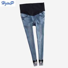 Blue Winter thick Warm Fleece Elastic Waist 100% Cotton Maternity Jeans Pants For Pregnancy Clothes For Pregnant Women Legging(China (Mainland))
