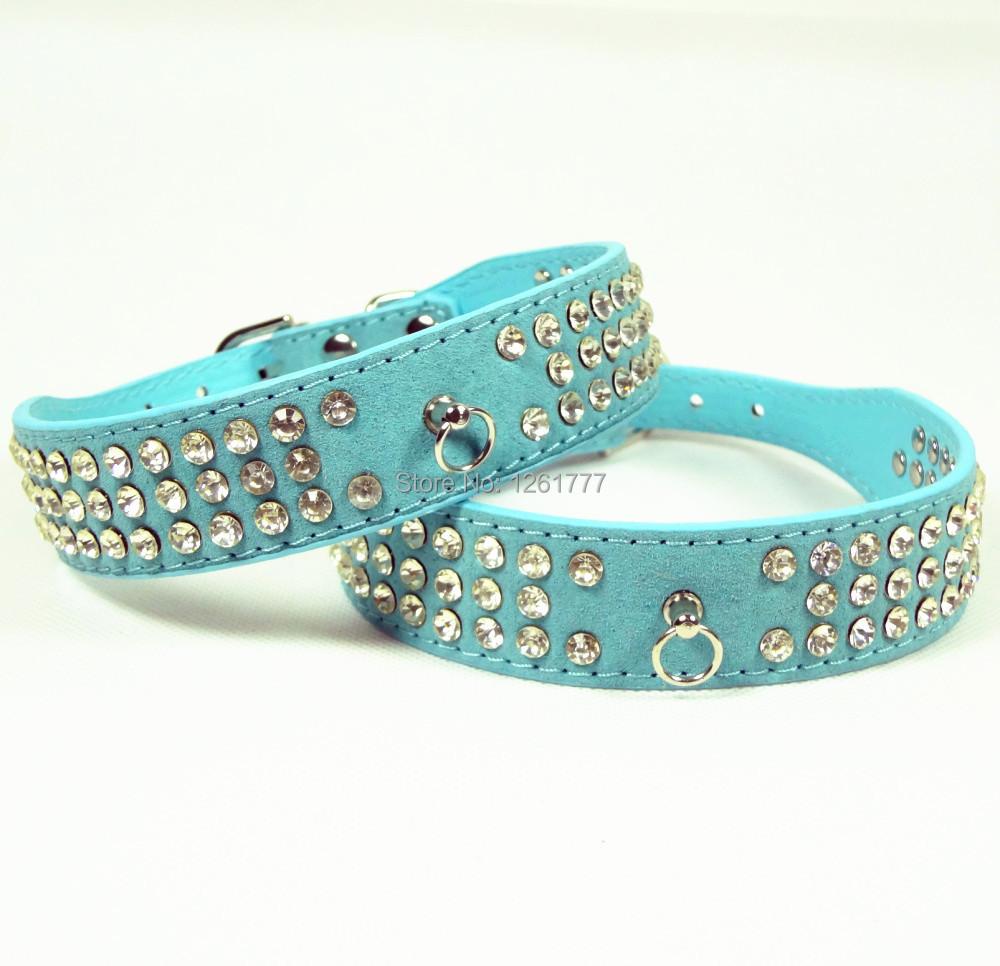 Blue Suede Leather Pet Dog Collars 3 Rows Crystal Rhinestone Pet Dog Collar Small Medium Large free shopping(China (Mainland))
