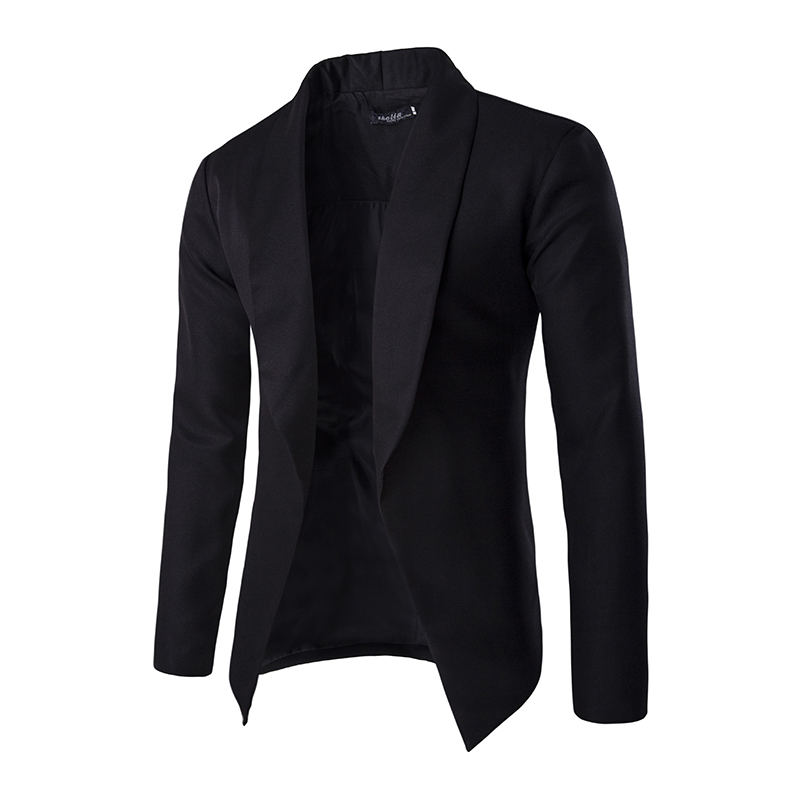 the jacket has a collar and label, 2 large silver and black decorative buttons, a pocket with flap on each side and the jacket has long sleeves.