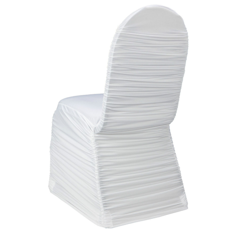 wholesale white lycra ruffled chair cover for wedding(China (Mainland))