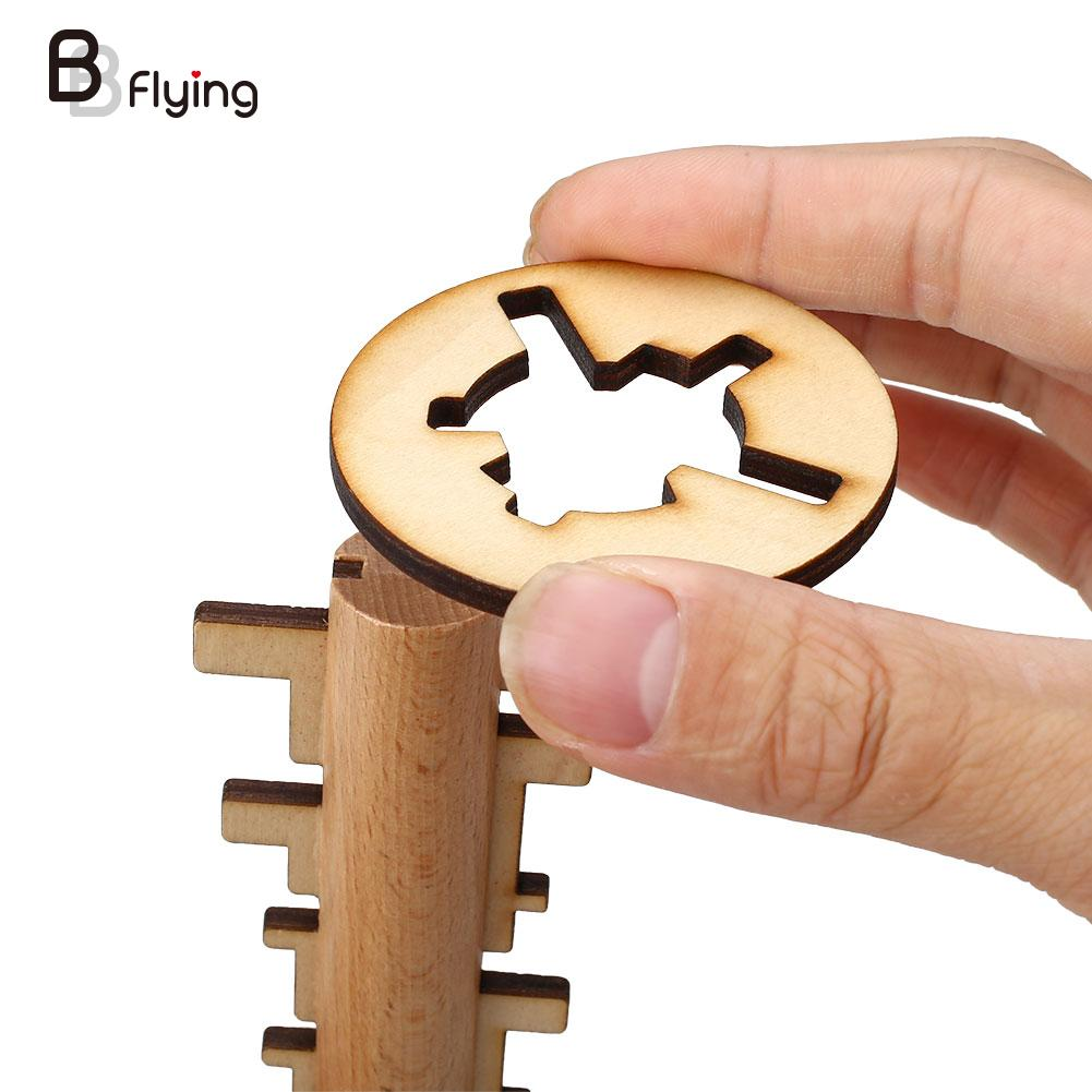 Wooden Unlock Puzzle Key Classical Wood Kong Ming Lock Education Toys Game(China (Mainland))