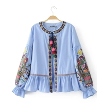 Buy 2017 Fashion Women Ethnic style Sequin embroidery Stripe Shirts Long sleeve Blouses Casual Loose Tops chemise femme blusas S1738 for $18.79 in AliExpress store