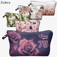 Women roses Portable Type Bags Make up organizer bag Cosmetics maleta de maquiagem Bags Cases Storage
