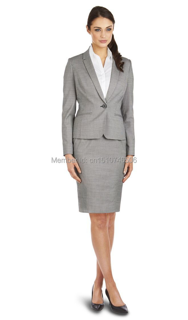 2016 New Style customs made 100 wool grey OL one button notch lapel women skirt font