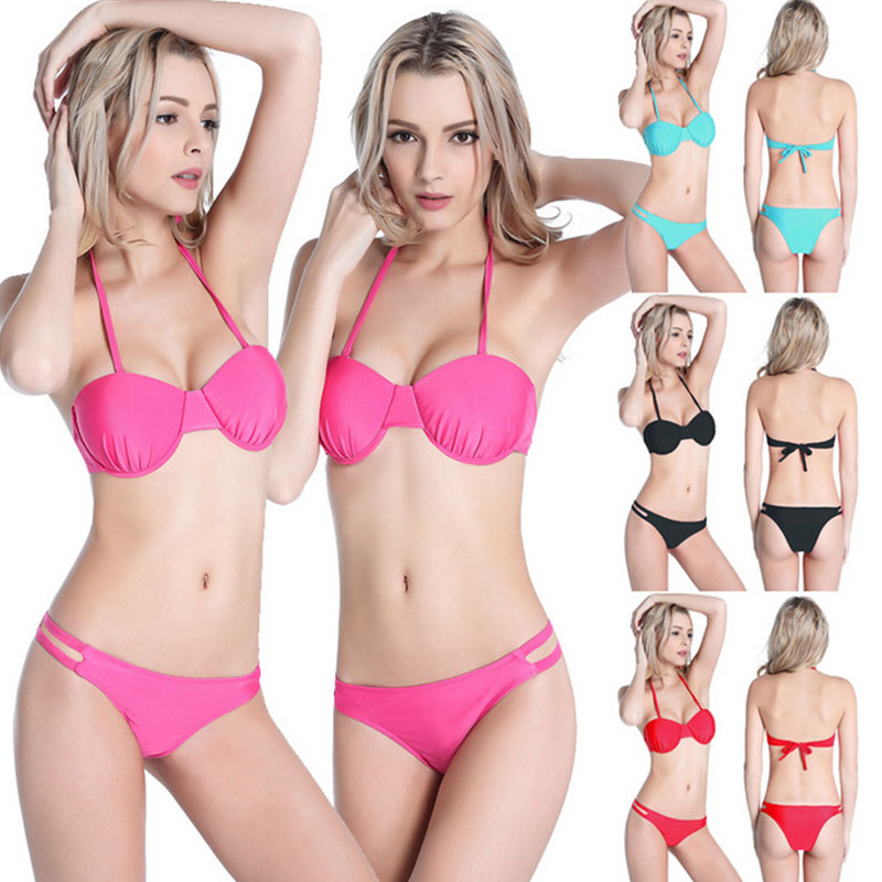2016 New Ladies swimming Nylon Halter Swimsuit and foreign high-grade steel holders hard Bikini cup together(China (Mainland))