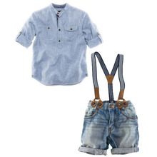 New 2016 Spring Kids Straps Clothing Sets for Boys England Style Cowboy Suits Shirt+Overall Children Casual clothing set, YC021(China (Mainland))