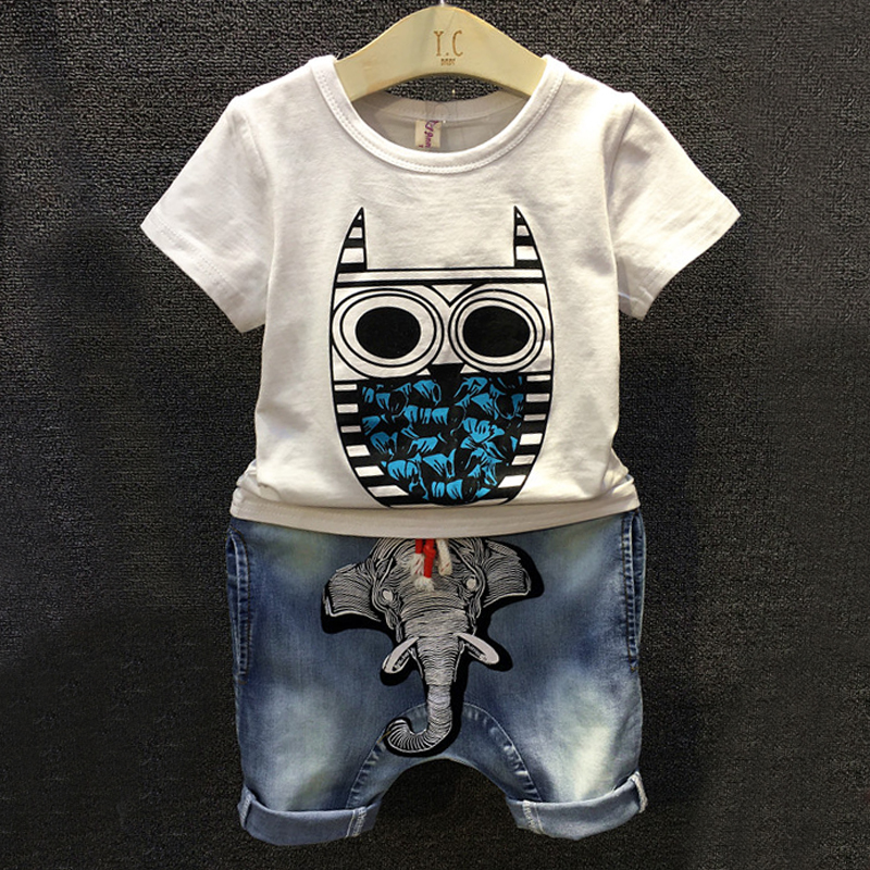 NEW 2016 summer boys clothes baby boy clothing t-shirt top with owl+cowboy pants suit kids costume baby set beby boy clothes(China (Mainland))