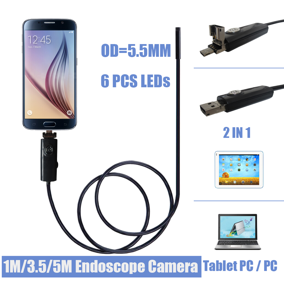 5.5MM 6LED Android Smartphone USB Endoscope Camera IP67 Waterproof Inspection Borescope Tube Camera With 5M Flexible Rigid Cable(China (Mainland))