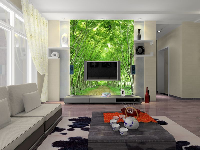 A large mural wallpaper the living room sofa bedroom for Scenery wallpaper for living room