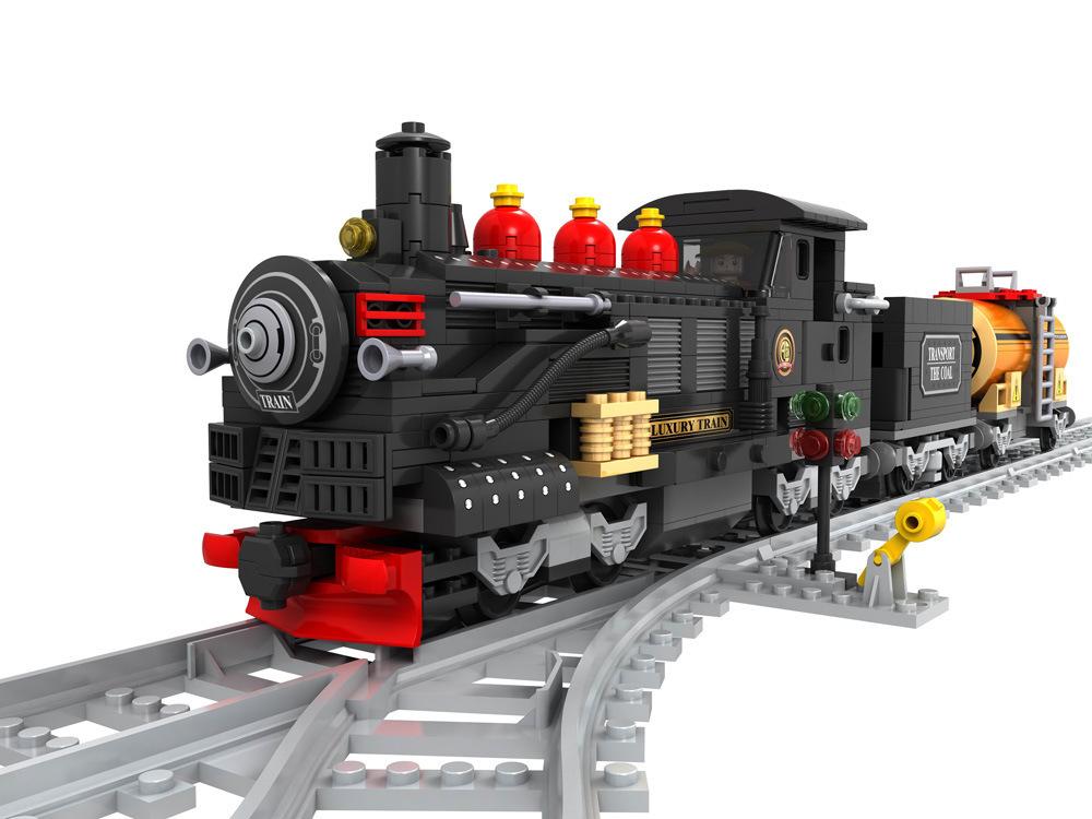 Transportation Building Block Sets Compatible lego steam train 3D Construction Bricks Educational Hobbies Toys Kids