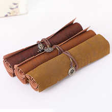 Hot Sale Retro Pirate Treasure Map Roll Up PU Leather Pen Pencil Case Bags Make Up Holder  8CKO(China (Mainland))
