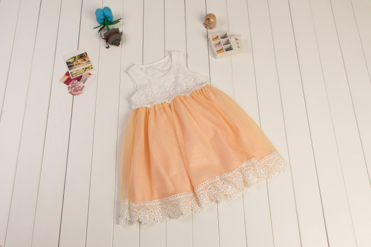 Hot sale girls dresses summer princess dress champagne flower girl dresses lace cute dress toddler girl pettidress(China (Mainland))