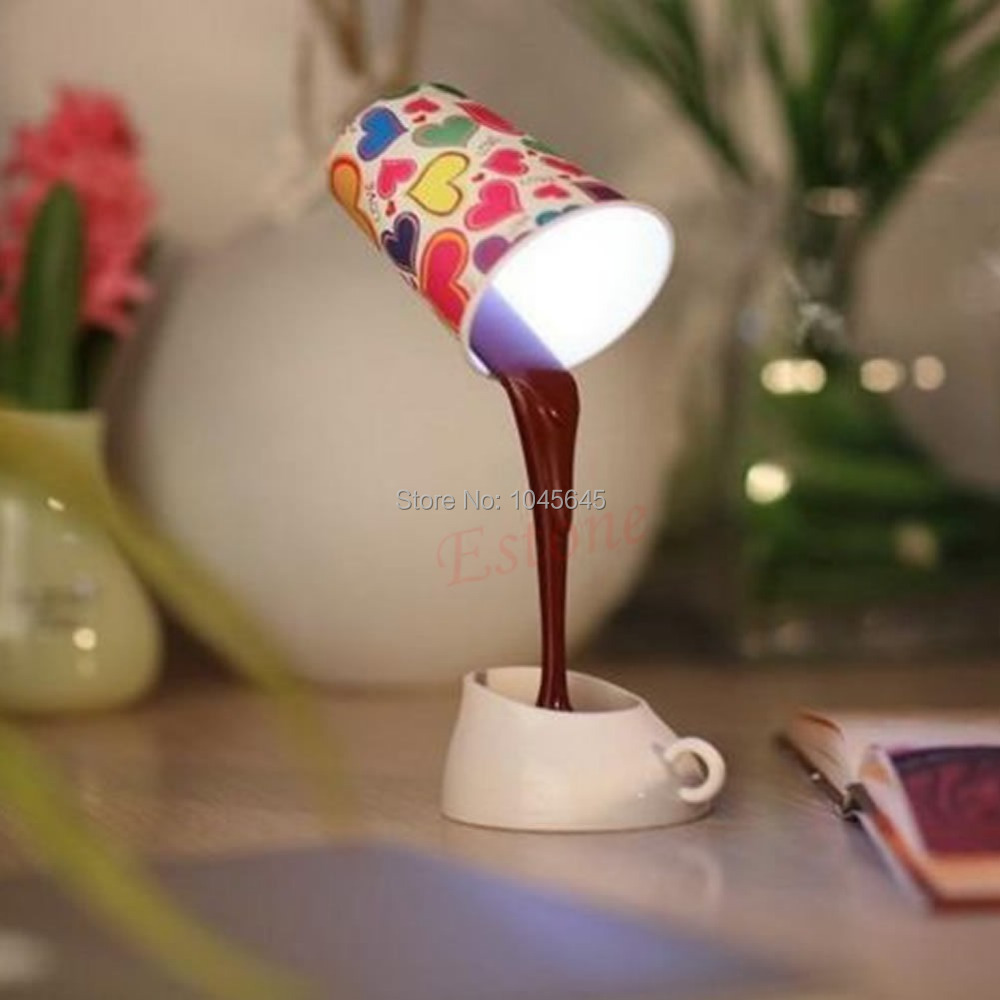 E79 Novelty DIY LED Table Lamp Home Romantic Pour Coffee Usb Battery Night Light(China (Mainland))