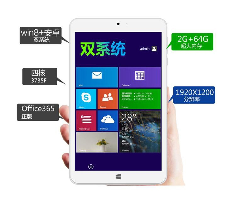 Original Jumper EZpad Mini2 8 inch Intel Z3735F Quad Core Dual Boot Windows 8 1 Android