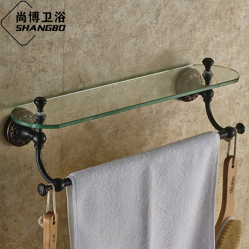 Europe luxury antique bronze glass bathroom shelves copper for Black glass bathroom accessories