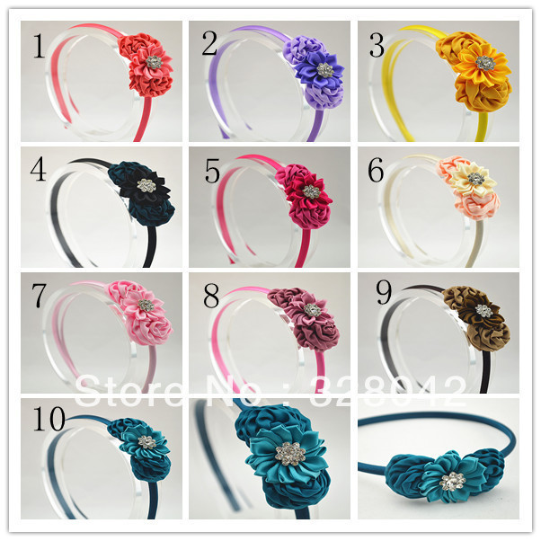 Trail order 10 colors satin ribbon flowers headband silk rosettes with Sparkling Rhinestone Pearl  hair accessory 20pcs/lot