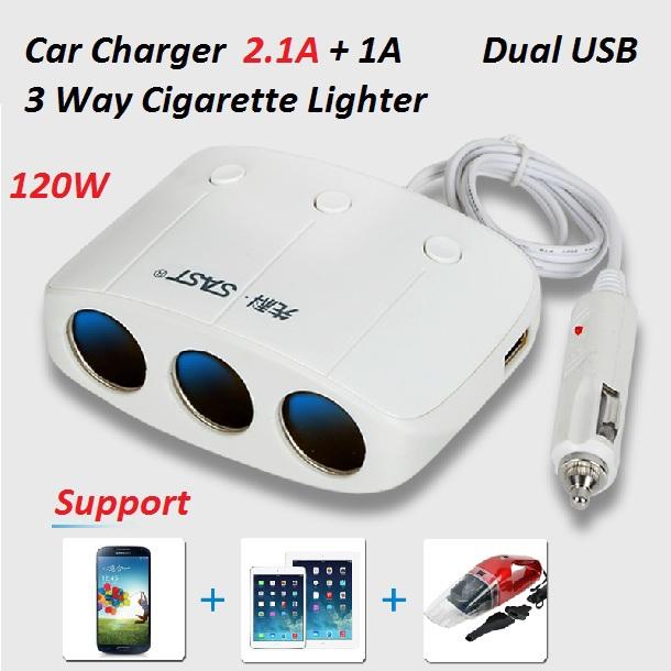 Car Cigarette Lighter Plug Power Adapter Output 120W 3.1A Dual USB Port 3 Way Car Cigarette Lighter Socket Splitter Charger 12V(China (Mainland))