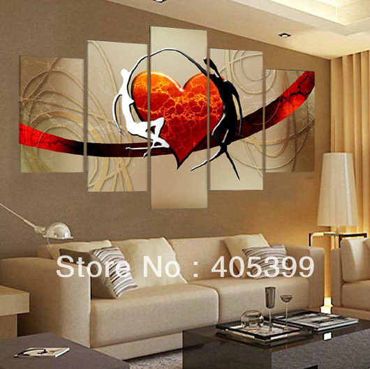Red Heart Bridge With Two Lovers !  Handmade Oil Painting Wall Art ,Love Art Homedecoration JYJHS016