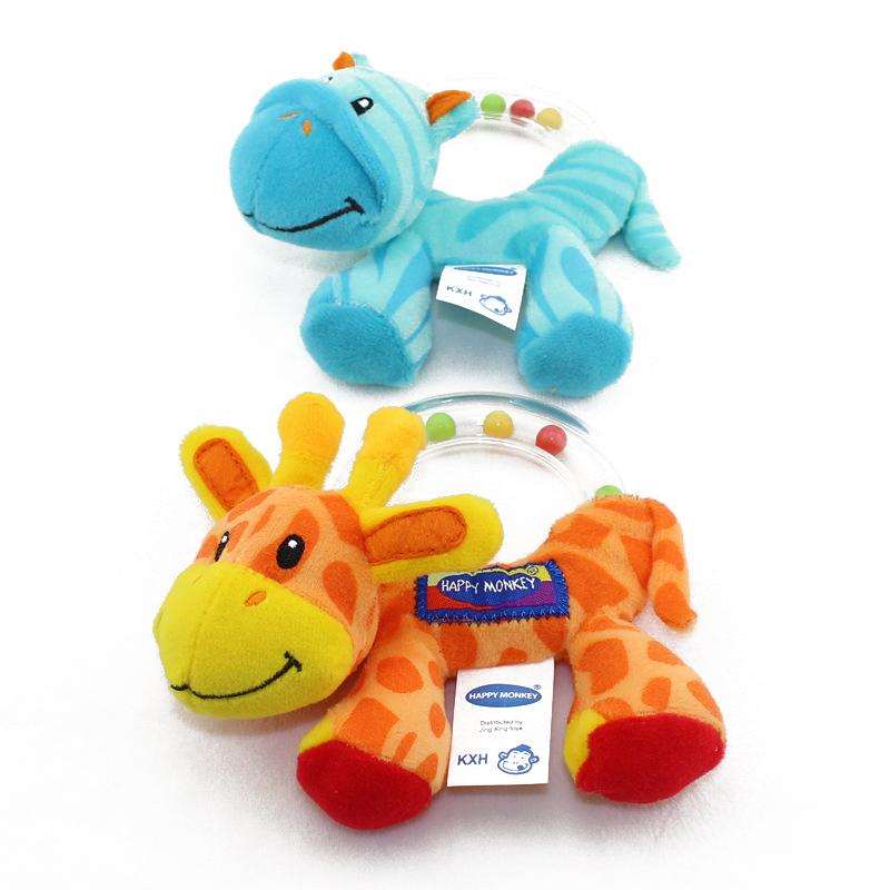 Baby cartoon giraffe zebra model bed bell toy baby pram stroller bed appease plush doll infant hand rattles mobiles LYJ107(China (Mainland))