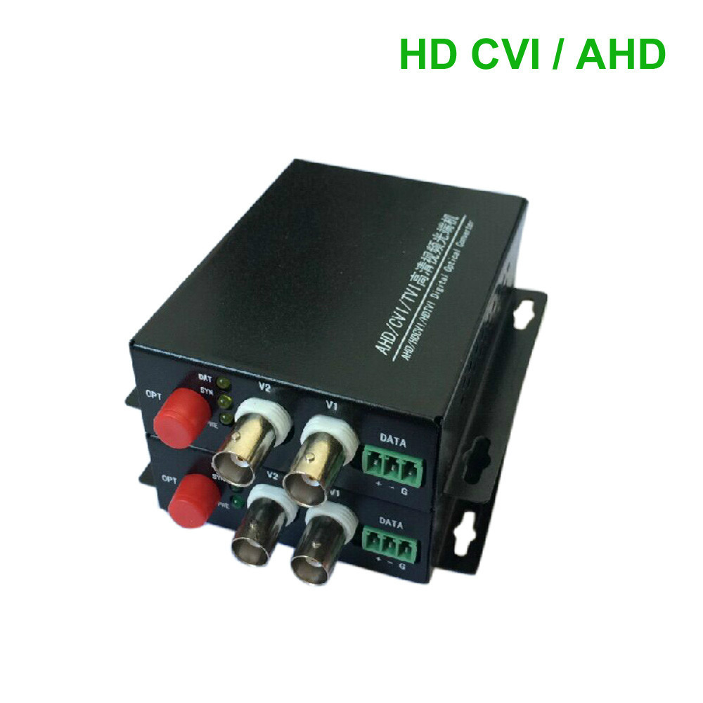 HD CVI 2 Channel Video data optical Media Converter Transmitter Receiver -1Pair for 720P 960P AHD CVI HD cameras CCTV(China (Mainland))