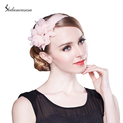 1 Pc Shell Pink Flower and Feather Fascinators Sweet For Ladies Wedding Evening Party Derss TS0202(China (Mainland))