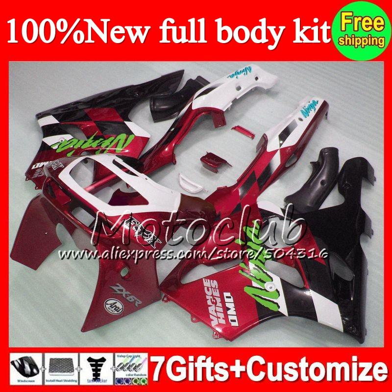 Fairing Dark red black KAWASAKI 94-97 NINJA ZX6R 94 95 96 97 C0 ZX 6R 636 ZX636 Red black ZX-6R 1994 1995 1996 1997 +decal