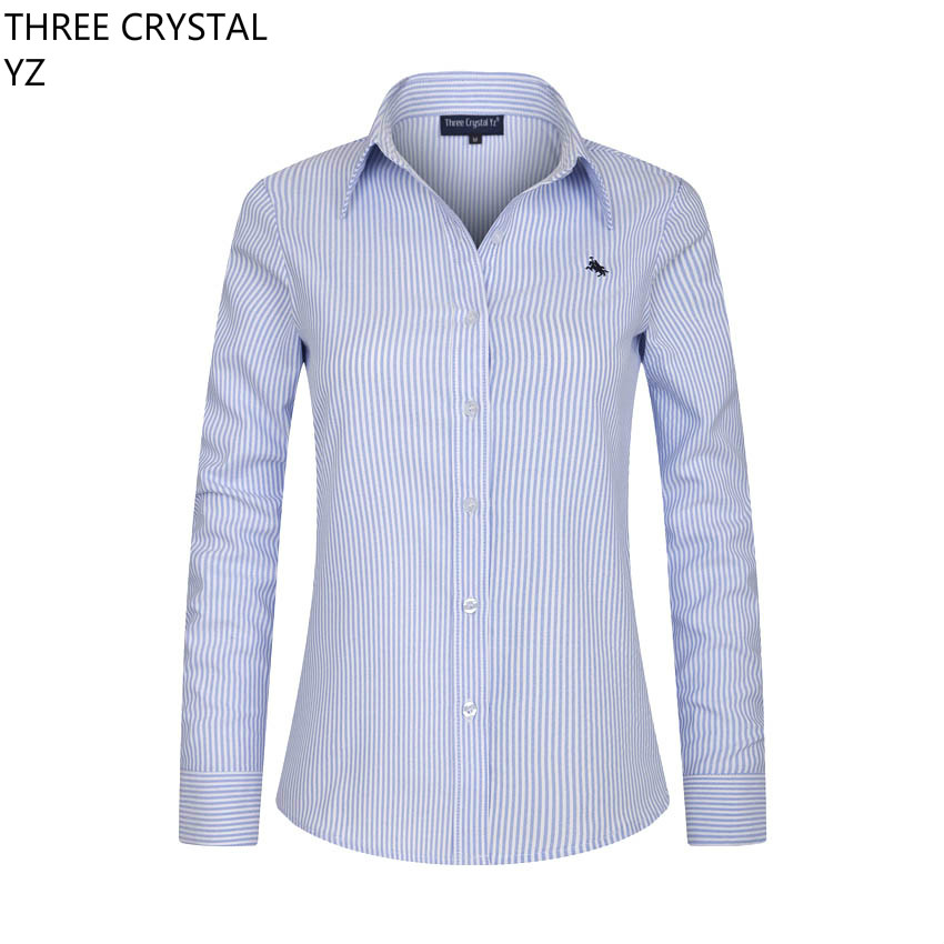 Women Blouses 2016 Fall Spring America Long Sleeve Embroidery 100% Cotton Ladies Office Shirt Stripes Tops Formal - HAODUOYI China-made quality store