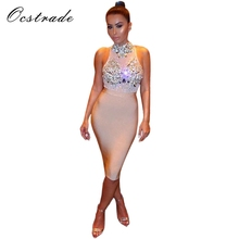 Buy Summer Dress 2017 Club Party Dresses New Arrival Women's Nude Red Black Beaded Bodycon Dress 2017 Sexy Bandage Mesh Dress for $36.24 in AliExpress store