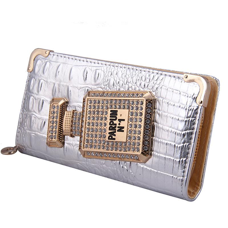 Women Luxury Gold & Silver Famous Brand Crocodile Rhinestone Perfume Bottle Shape Leather Long Zipper Clutches Wallet Purses 5(China (Mainland))