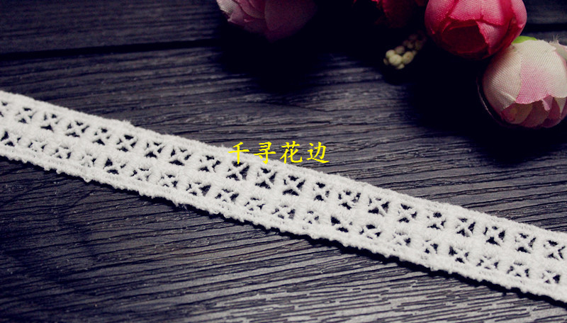 1110369 5 Yards 1 6cm font b Tartan b font Cross Eyelash Embroidery Lace Embroidered Water