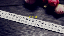 1110369 5 Yards 1.6cm Tartan Cross Eyelash Embroidery Lace Embroidered Water Soluble Cotton Cloth Lace Trim Ribbon