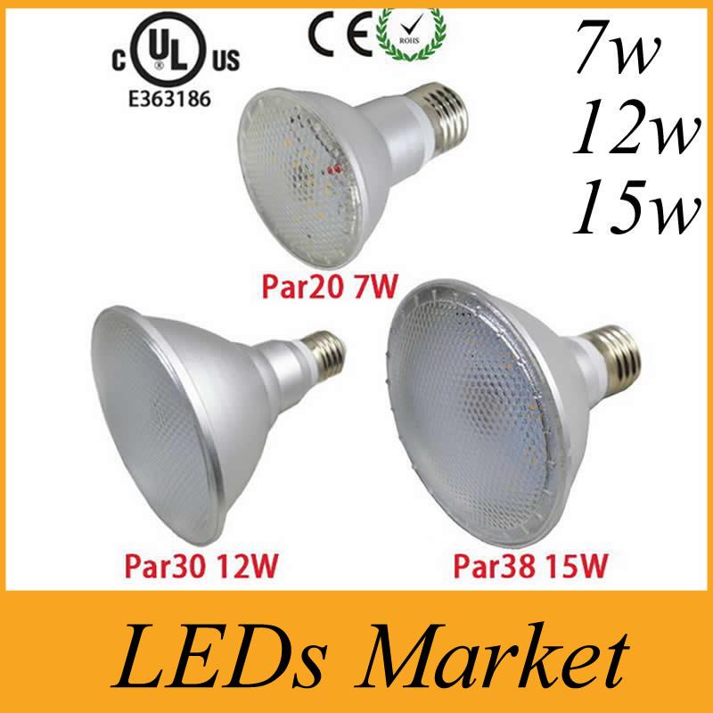 Led Spot Lamp Par20 Par30 Par38 Led Bulb E27 E26 AC85-265v Dimmable Led Spotlight Lighting Warm Cold White Waterproof IP UL CE(China (Mainland))