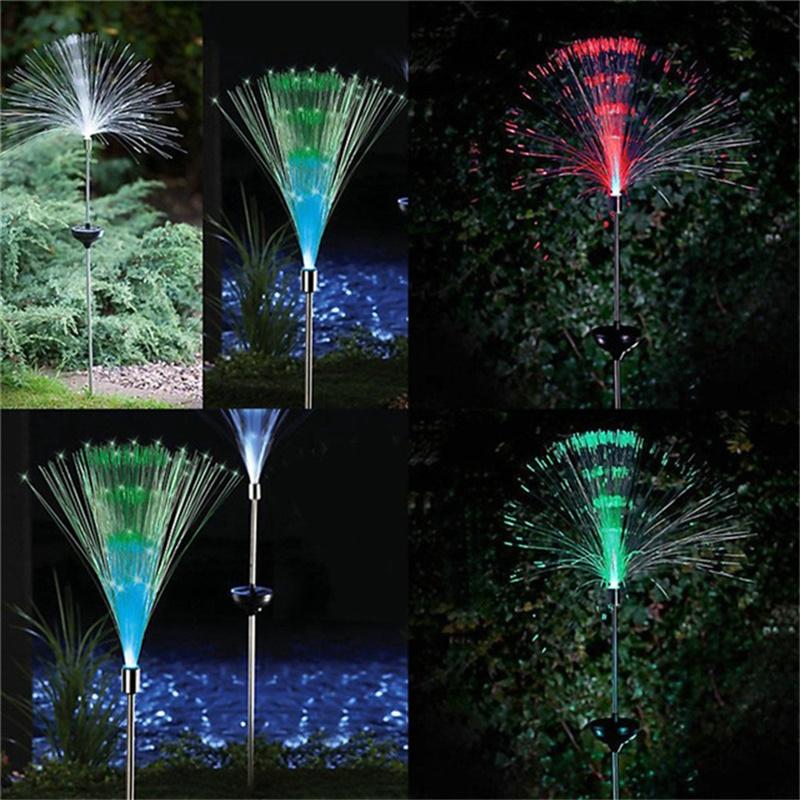 Multi-color RGB Fiber Solar Powered Creative Ambient Light Party Solar Christmas Decoration Lights Garden Floor Spike Lamp(China (Mainland))
