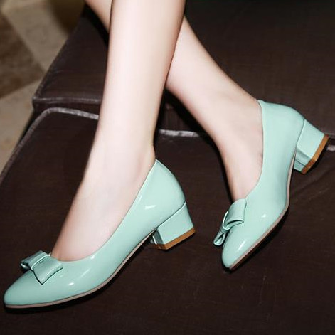2016 new fashion square heels women pumps patent leather shoes woman low heel casual dress shoes eur size 34-43