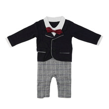 High Quality Baby Boy Gentleman Formal Set Romper fake 2 Pieces Tie for Party Wedding(China (Mainland))
