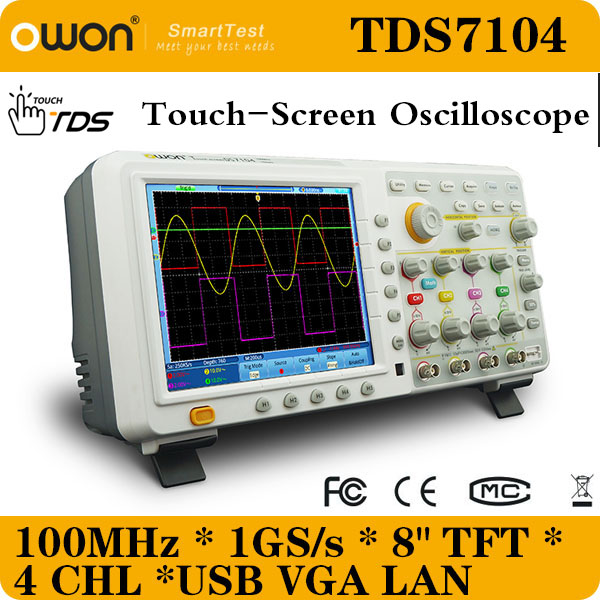 TDS7104 Touch-screen 8 inches TFT 7.6M storage 100MHz 1GS/s Four 4 channels OWON Digital Oscilloscope(China (Mainland))