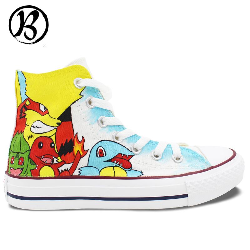 Custom Gifts Christmas Birthday font b Pokemon b font font b Shoes b font Painted font