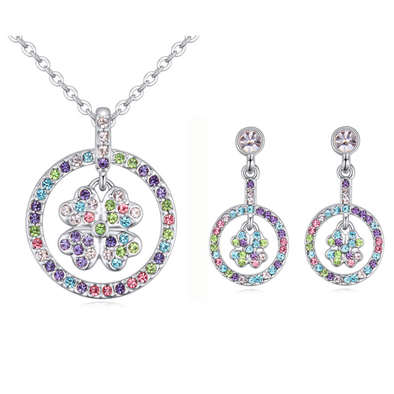 Lucky Jewelry Sets Circle Clover Pendant Necklace Piercing Earrings Crystals From Swarovski Women Party Accessories Gift Jewelry(China (Mainland))