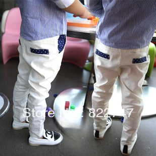 Free shipping (5size/lot) 2014 autumn boy offical children's baby clothing casual pants male child white suit pants roll-up hem(China (Mainland))