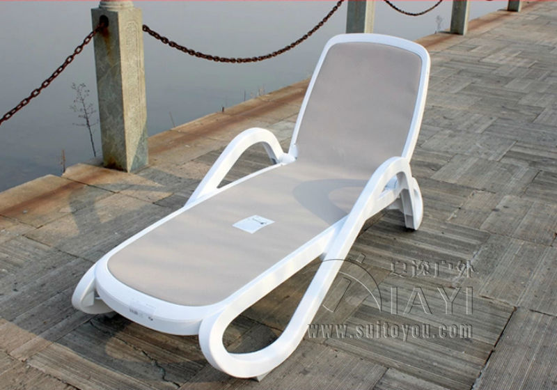 Plastic White Color Outdoor Furniture Beach Chair Lounger For Swimming Pool P