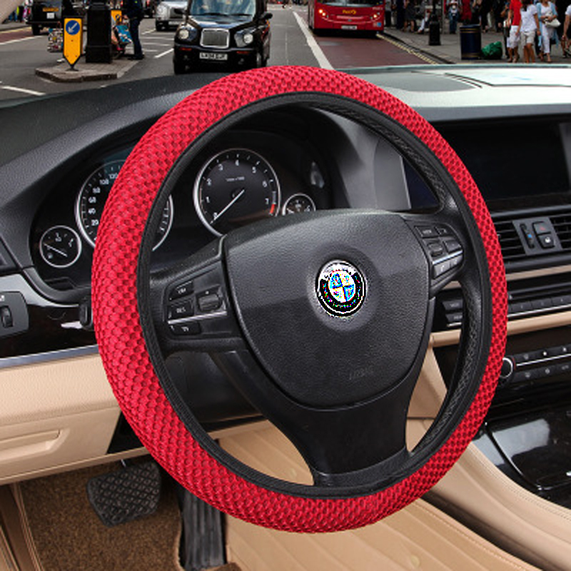 2016 Sandwich Fabric Handmade Steering Wheel Cover Breathability Skidproof Universal Fits Most Car Steering Wheel Styling(China (Mainland))
